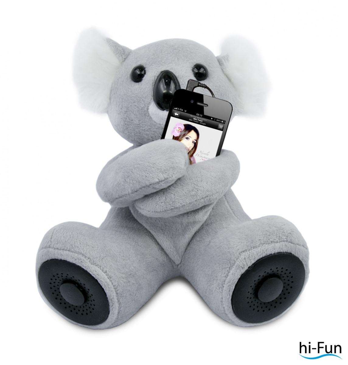 """Der Lautsprecher-Koala: Mit einem Lautsprecher in jedem Fuß und einemBatteriefach im Rücken wird """"hi-Koalí""""zum Vorleser, Märchenerzähler undGeschichtenerfinder. Der Lautsprecher ist ab sofort in drei verschiedenen Farbenfür 29,90 Euro erhältlich."""