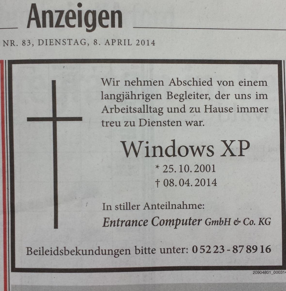 Das Support-Ende von Windows XP bescherte dem PC-Markt einen wahren Höhenflug. Der Austauschzyklus sorgte dafür, dass die deutschen Distributoren den Absatz im zweiten Quartal um 33 Prozent steigern konnten. Die Entrance Computer schaltete pünktlich zum Support-Ende im April eine Traueranzeige, um für das Migrationsgeschäft zu werben.
