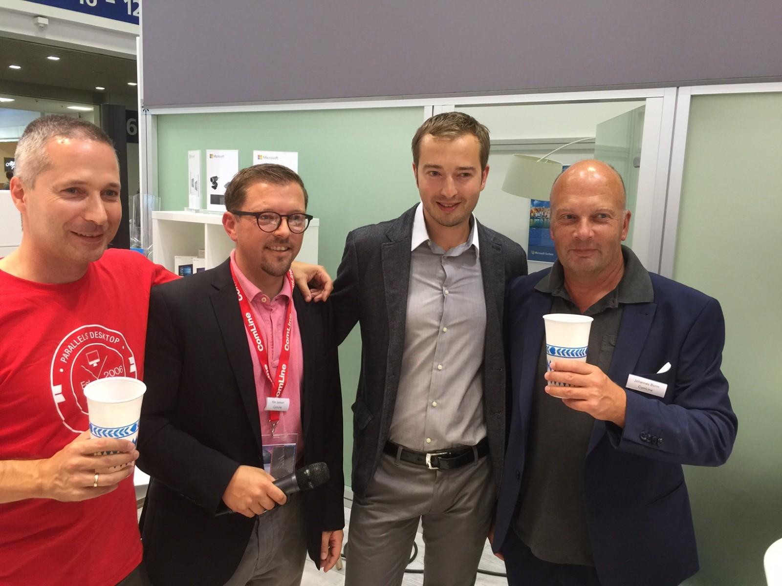Roland Franze (Parallels), Kim Jannsen (ComLine), Rafael Frankow (Smanos) und Johannes Borm (ComLine) v.l.n.r.