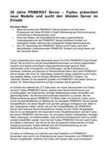 20 Jahre PRIMERGY Server - Fujitsu präsentiert neue Modelle und sucht den ältesten Server im Einsatz