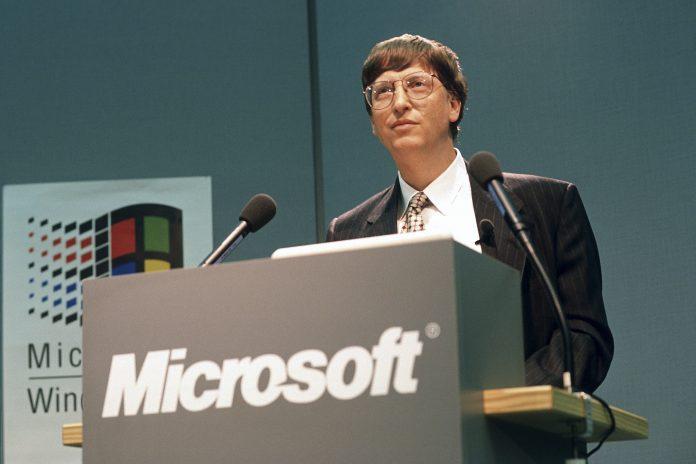 Bill Gates auf der CeBIT in den 90er Jahren