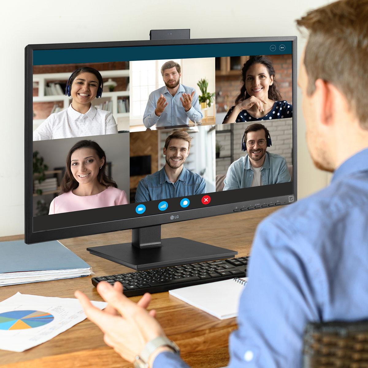Die Webcam der All-in-One Thin Clients 27CN650-N/-W und 34CN650-N/-W poppt nur auf, wenn sie gebraucht wird.